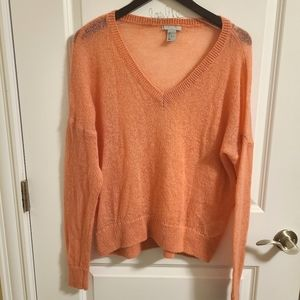 H&M Coral knit sheer sweater
